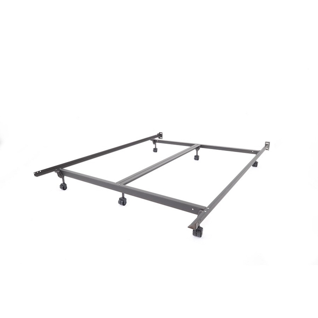Steel Bed Frame With Rollers, Queen